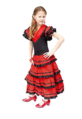 La Senorita Spanish Flamenco Dress Fancy Dress Costume – Girls / Kids – Black / Red