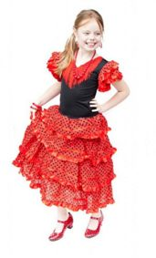 La-Senorita-Spanish-Flamenco-Dress-Fancy-Dress-Costume-Girls-Kids-Red-Black-0