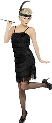 Ladies Fancy Dress Up Party 1920s Charleston Fringe Flapper Costume Outfit Black