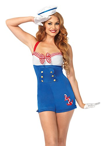 Leg Avenue 2 Piece High Seas Honey Romper, w/ Woven Anchor and Sailor Hat