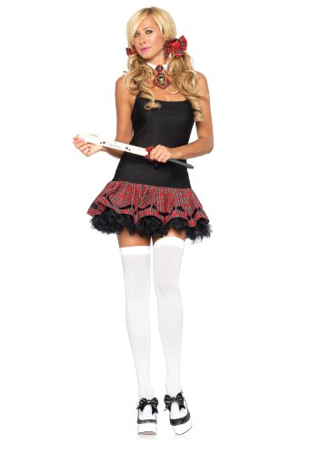 Leg Avenue Costumes 3Pc.School Girl Kit Ruler Crop Plaid Tie and Matching Hair Bows