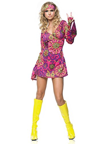 Leg Avenue Women's 2 Piece Retro Print Bell Sleeves Go Go Dress With Head Band