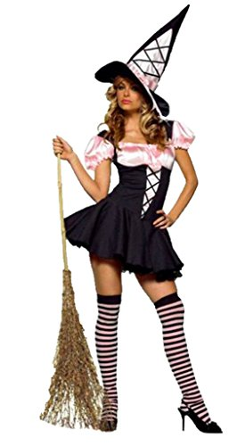 Leg Avenue Womens Witch Pink And Black Corset Outfit Fancy Dress Sexy Costume