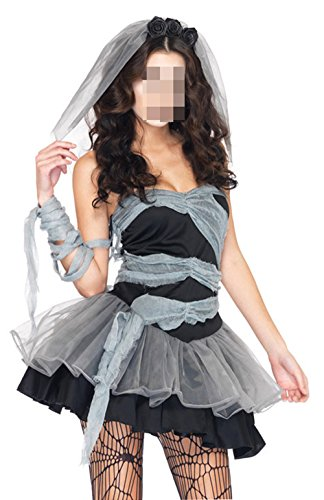 Lidoso Womens Halloween Punk Ripped Zombie Bride Costumes Cosplay
