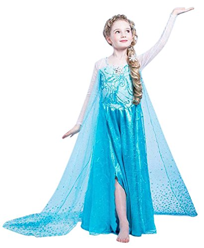 Maxi Real Snow Queen Elsa Dress Costume for Girls 3-9 Years