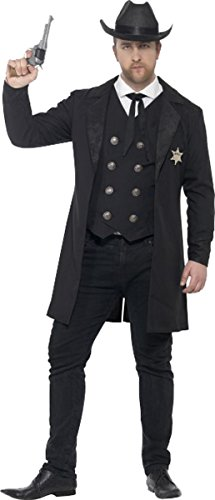 Mens Fancy Party Dress Gangster Mafia Curves Sheriff Wild West Cow Boy Costume