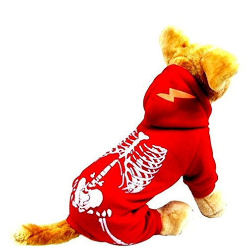 NACOCO Dog Costume Dinosaur Costumes Skeleton Hoodies for Dogs Clothes Halloween Day Party Skull Apparel