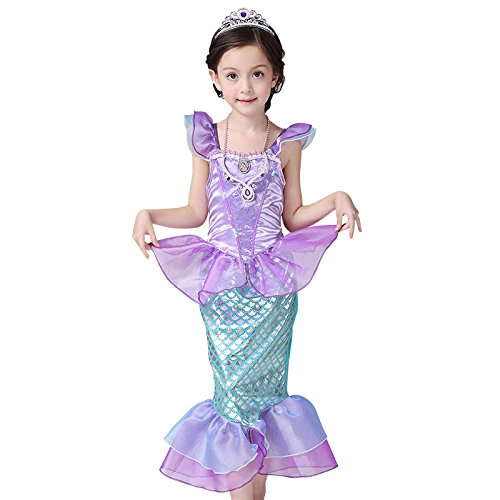 Newland Girl's Kids Little Mermaid Princess Party Dress Costume