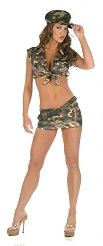 Nom de Plume, Inc Womens' Sexy Stretch Lycra Army Top & Skirt Costume Set With Cap