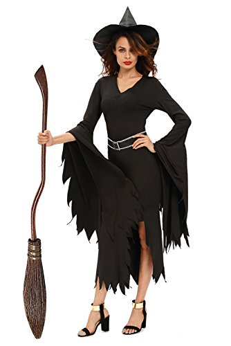 NuoReel Womens All Black Gothic Witch Halloween Costume