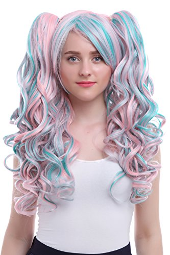 Nuoqi Sweet Girls Lolita Wigs Clip on Ponytails Curly Cosplay Hair Wigs