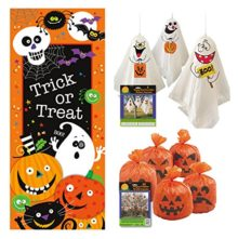Outdoor-Halloween-Decor-Set-Door-Poster-Pumpkin-Leaf-Bags-Hanging-Ghost-Decorations-0