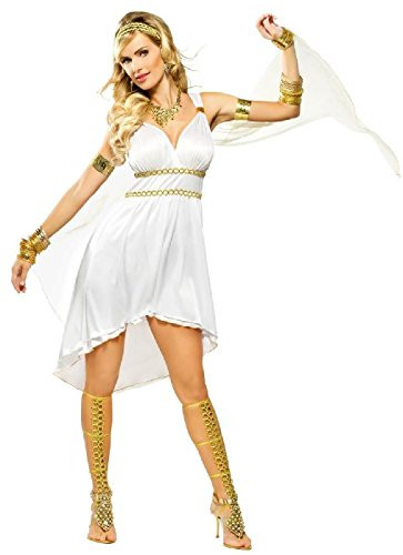 OvedcRay Greek Goddess Olympia Venus Costume Roman Athena Short Toga Dress White Sexy