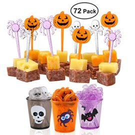 PBPBOX-72-Pack-Halloween-Food-Picks-6-Cups-Cupcake-Toppers-with-Glitter-Spider-Pumpkin-Skull-Design-for-Halloween-Party-Supplies-Halloween-Party-Decorations-0