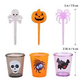 PBPBOX-72-Pack-Halloween-Food-Picks-6-Cups-Cupcake-Toppers-with-Glitter-Spider-Pumpkin-Skull-Design-for-Halloween-Party-Supplies-Halloween-Party-Decorations-0-5