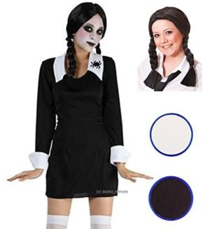 Party-Central-Womens-Creepy-School-Halloween-Fancy-Costume-With-Wig-Face-Paint-0