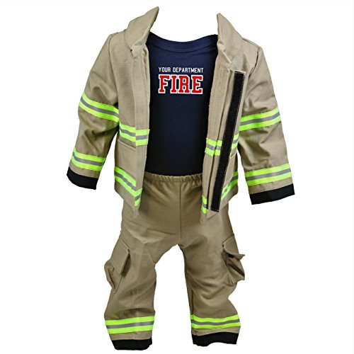 Personalized Firefighter Baby Full TAN 3-Piece Outfit