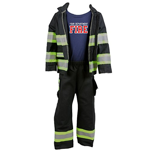 Personalized Firefighter Toddler Full BLACK 3-Piece Outfit