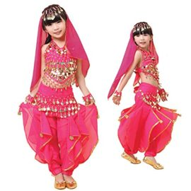 Pilot-trade-Children-Belly-Dance-Costume-Harem-Pants-Halter-Top-Veil-Bracelet-0-1