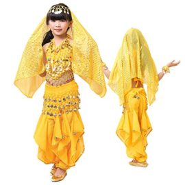 Pilot-trade-Children-Belly-Dance-Costume-Harem-Pants-Halter-Top-Veil-Bracelet-0-2