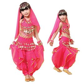 Pilot-trade-Kid-Girl-Belly-Dance-Costume-Harem-Pants-Halter-Top-Hip-Scarf-Veil-Sets-0