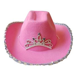 Pink-Cowboy-Cowgirl-Tiara-Felt-Light-Up-Rodeo-Princess-Hat-0