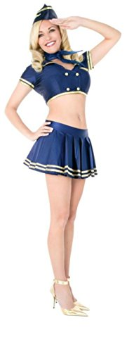 Playboy Womens Classic Stewardess Flight Attendant Retro Outfit Sexy Costume