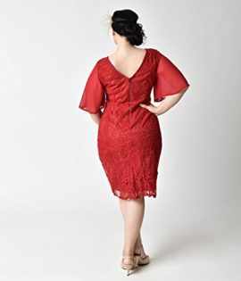 Plus-Size-1930s-Style-Wine-Red-Angel-Sleeve-Lace-Flapper-Dress-0-0