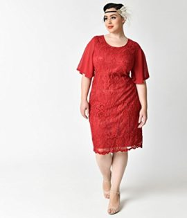 Plus-Size-1930s-Style-Wine-Red-Angel-Sleeve-Lace-Flapper-Dress-0-2