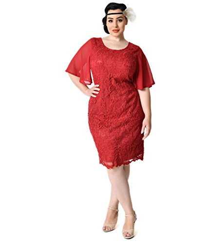 Plus-Size-1930s-Style-Wine-Red-Angel-Sleeve-Lace-Flapper-Dress-0