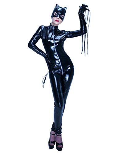 Quesera-Womens-Catsuit-Bodysuit-Full-Body-One-Piece-Zip-Up-Front-Catwoman-Costume-0