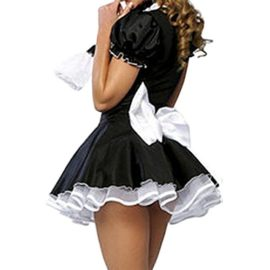 Quesera-Womens-French-Maid-Costume-Sexy-Black-Satin-Layered-Halloween-Fancy-Dress-0-0