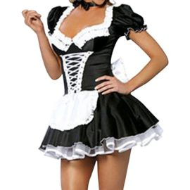 Quesera-Womens-French-Maid-Costume-Sexy-Black-Satin-Layered-Halloween-Fancy-Dress-0