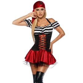 Quesera-Womens-Halloween-Pirate-Costume-Adult-Sexy-Shiny-Halter-Buccaneer-Dress-0