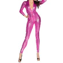 Quesera-Womens-Sexy-Hollow-Catsuit-One-Piece-Metallic-Skinny-Stretch-Bodysuit-0