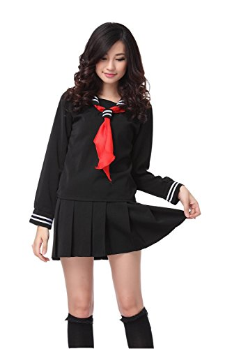 ROLECOS Womens Sailor School Uniform Dress Japanese Anime Lolita Sailor Suit