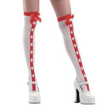 Red-Stripe-White-Thigh-High-Nurse-Halloween-Adult-Womens-Cosplay-Costume-Tights-0