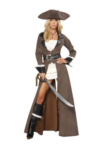 Roma-Costume-Deluxe-4-Piece-Pirate-Captain-Costume-Distressed-Brown-Large-0