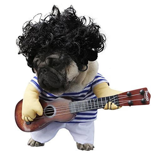 S-Lifeeling Pet Guitar Costume Dog Costumes Guitarist Player Ourfits for Halloween Christmas Cosplay Party Funny Cat Clothes