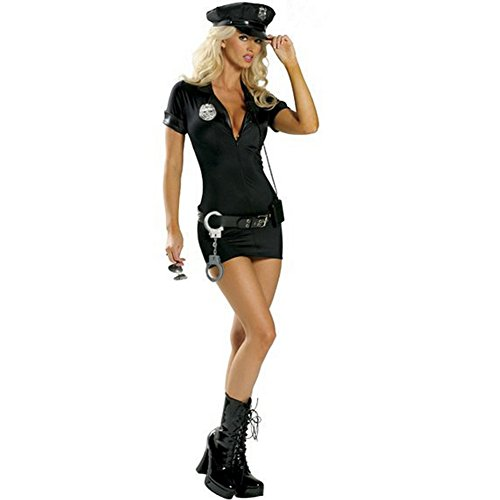 SSQUEEN Women's Sexy Police Uniform Dirty Cop Officer Masquerade Clothes with Handcuffs