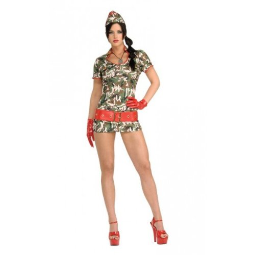 Secret Wishes Women's Cute Recruit Adult Costume with Holographic Sequins