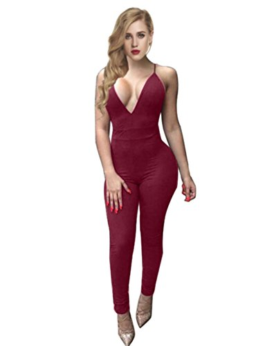 Sedrinuo Women's Top Cross Backless Jumpsuit