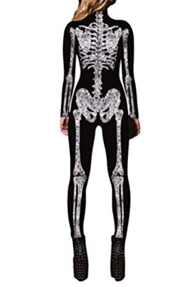 Selowin-Womens-Halloween-Skeleton-Print-Costume-Stretch-Skinny-Catsuit-Jumpsuit-0-0