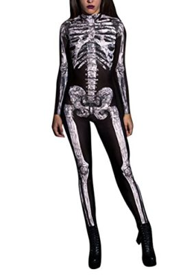 Selowin-Womens-Halloween-Skeleton-Print-Costume-Stretch-Skinny-Catsuit-Jumpsuit-0-1