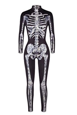 Selowin-Womens-Halloween-Skeleton-Print-Costume-Stretch-Skinny-Catsuit-Jumpsuit-0-3