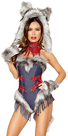 Sexy-American-Werewolf-in-Paris-Fringe-and-Plaid-Romper-with-Accessories-0