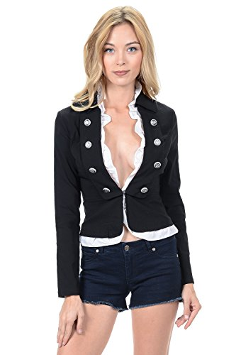 Sexy Military Women's Waistcoat Frilled with Buttons Long Sleeve Jacket (L-3523)