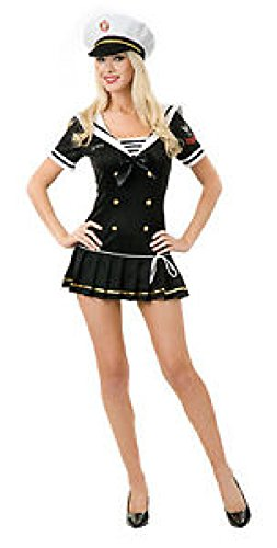 Sexy Navy Brat Costume Black Adult Sexy Officer Sexy Sailor Navel Dress