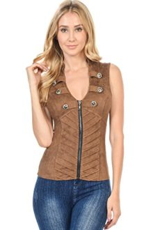 Sexy-Suede-Spandex-Military-Look-Club-Wear-Rave-Vest-Jacket-Top-L3615-0