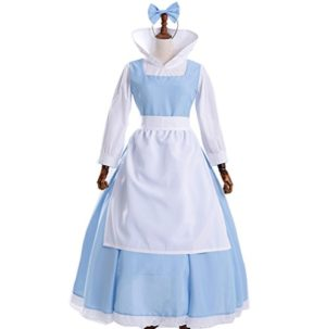Sinastar-Halloween-Belle-Princess-Blue-Maid-Dress-Cosplay-Costume-Movie-Role-Play-Dress-0